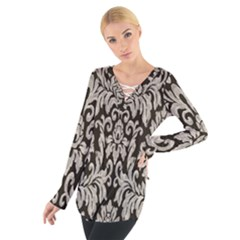 Wild Textures Damask Wall Cover Women s Tie Up Tee