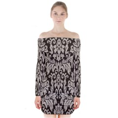 Wild Textures Damask Wall Cover Long Sleeve Off Shoulder Dress