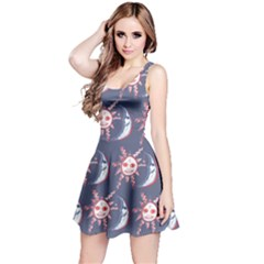 Sunmoon Blue Illustration Moon Orange Red Sun Reversible Sleeveless Dress
