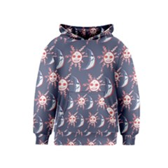 Sunmoon Blue Illustration Moon Orange Red Sun Kids  Pullover Hoodie