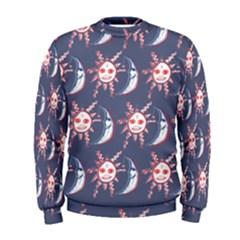 Sunmoon Blue Illustration Moon Orange Red Sun Men s Sweatshirt