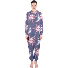 Sunmoon Blue Illustration Moon Orange Red Sun Hooded Jumpsuit (Ladies)