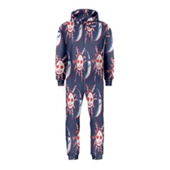 Sunmoon Blue Illustration Moon Orange Red Sun Hooded Jumpsuit (Kids)