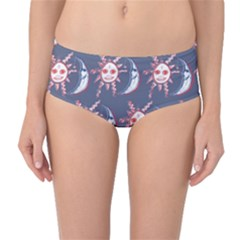 Sunmoon Blue Illustration Moon Orange Red Sun Mid-Waist Bikini Bottoms