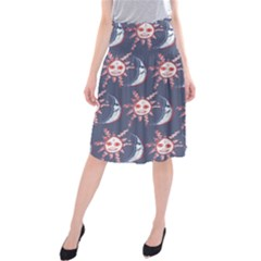Sunmoon Blue Illustration Moon Orange Red Sun Midi Beach Skirt