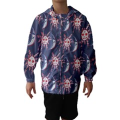 Sunmoon Blue Illustration Moon Orange Red Sun Hooded Wind Breaker (Kids)