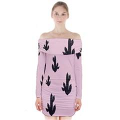 Tree Kartus Pink Long Sleeve Off Shoulder Dress