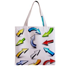 Three Dimensional Crystal Arrow Zipper Grocery Tote Bag