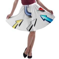 Three Dimensional Crystal Arrow A-line Skater Skirt