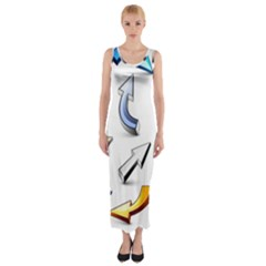 Three Dimensional Crystal Arrow Fitted Maxi Dress