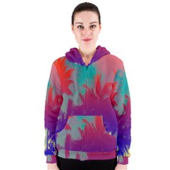 Tropical Coconut Tree Women s Zipper Hoodie