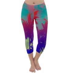 Tropical Coconut Tree Capri Winter Leggings