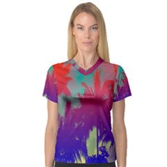 Tropical Coconut Tree Women s V-Neck Sport Mesh Tee