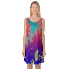 Tropical Coconut Tree Sleeveless Satin Nightdress