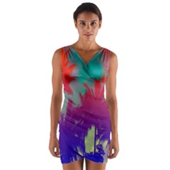 Tropical Coconut Tree Wrap Front Bodycon Dress