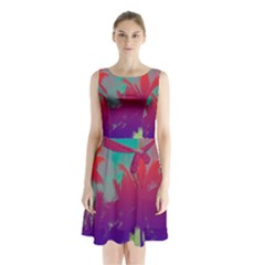 Tropical Coconut Tree Sleeveless Chiffon Waist Tie Dress