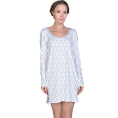 Web Grey Flower Pattern Long Sleeve Nightdress