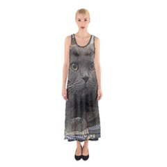 British Shorthair Grey Sleeveless Maxi Dress