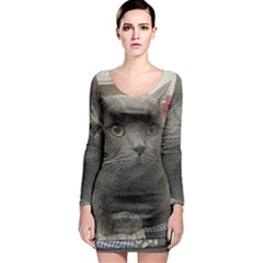 British Shorthair Grey Long Sleeve Bodycon Dress