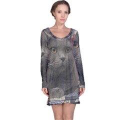 British Shorthair Grey Long Sleeve Nightdress