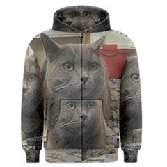 British Shorthair Grey Men s Zipper Hoodie