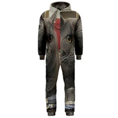 British Shorthair Grey Hooded Jumpsuit (Men)