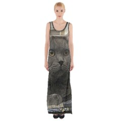 British Shorthair Grey Maxi Thigh Split Dress