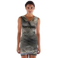 British Shorthair Grey Wrap Front Bodycon Dress