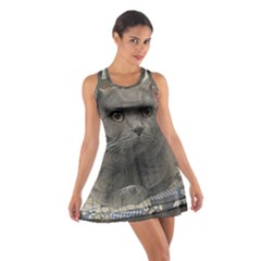 British Shorthair Grey Cotton Racerback Dress