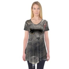 British Shorthair Grey Short Sleeve Tunic
