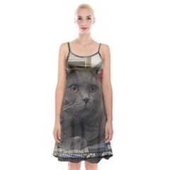 British Shorthair Grey Spaghetti Strap Velvet Dress