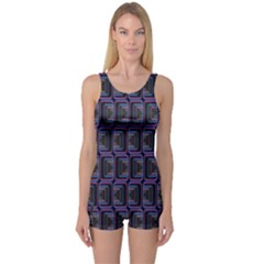 Psychedelic 70 S 1970 S Abstract One Piece Boyleg Swimsuit
