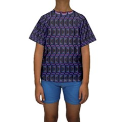 Psychedelic 70 S 1970 S Abstract Kids  Short Sleeve Swimwear