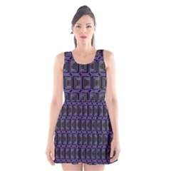 Psychedelic 70 S 1970 S Abstract Scoop Neck Skater Dress