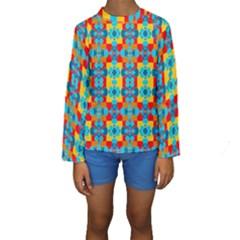 Pop Art Abstract Design Pattern Kids  Long Sleeve Swimwear