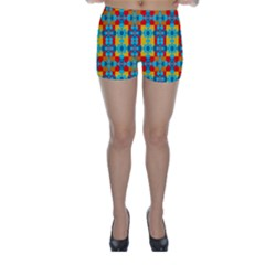 Pop Art Abstract Design Pattern Skinny Shorts