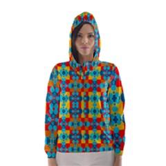 Pop Art Abstract Design Pattern Hooded Wind Breaker (Women)