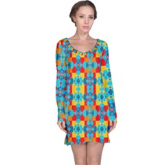 Pop Art Abstract Design Pattern Long Sleeve Nightdress