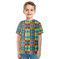 Pop Art Abstract Design Pattern Kids  Sport Mesh Tee