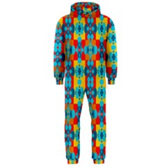 Pop Art Abstract Design Pattern Hooded Jumpsuit (men)