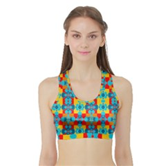 Pop Art Abstract Design Pattern Sports Bra With Border
