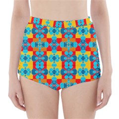 Pop Art Abstract Design Pattern High-Waisted Bikini Bottoms