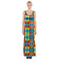 Pop Art Abstract Design Pattern Maxi Thigh Split Dress