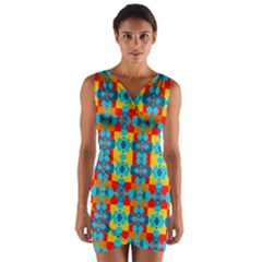 Pop Art Abstract Design Pattern Wrap Front Bodycon Dress