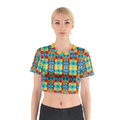 Pop Art Abstract Design Pattern Cotton Crop Top