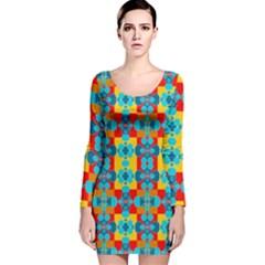 Pop Art Abstract Design Pattern Long Sleeve Velvet Bodycon Dress