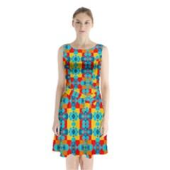 Pop Art Abstract Design Pattern Sleeveless Chiffon Waist Tie Dress