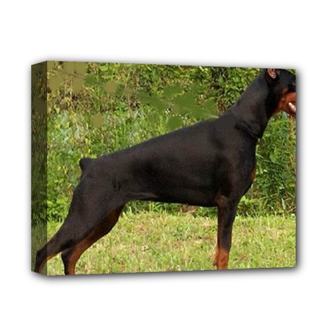 Doberman Pinscher Black Full Deluxe Canvas 14  x 11