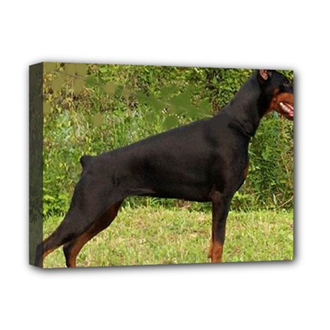Doberman Pinscher Black Full Deluxe Canvas 16  x 12