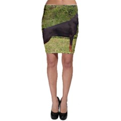 Doberman Pinscher Black Full Bodycon Skirt
